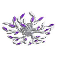 Vijolično/Bela Stropna Svetilka z Akrilnimi Kristalnimi Listi 5 x E14