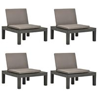 vidaXL Garden Lounge Chairs with Cushions 4 pcs Plastic Anthracite (4x48826)