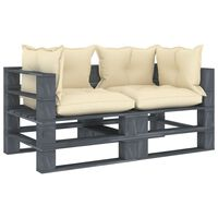 vidaXL Vrtni kavč iz palet dvosed s krem blazinami lesen