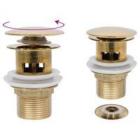 vidaXL Sifon s funkcijo proti prelivanju zlat 6,4x6,4x9,1 cm
