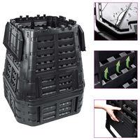 vidaXL Vrtni kompostnik črn 93,3x93,3x113 cm 740 L