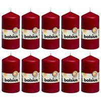 Bolsius Stebričaste sveče 10 kosov 120x58 mm vinsko rdeče