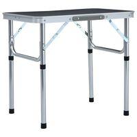 vidaXL Zložljiva miza za kampiranje siva iz aluminija 60x45 cm