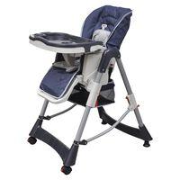 vidaXL Luksuzni stolček za hranjenje z nastavljivo višino temno moder