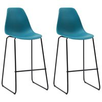 vidaXL Barski stoli 2 kosa turkizna plastika
