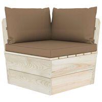 vidaXL Vrtni kotni kavč iz palet z blazinami impregnirana smrekovina