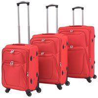 vidaXL 3 delni komplet mehkih potovalnih kovčkov rdeče barve