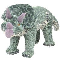 vidaXL Stoječi plišasti triceratop dinozaver zelen XXL