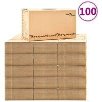 vidaXL Kartonske škatle XXL 100 kosov 60x33x34 cm
