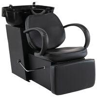 vidaXL Salonski stol z umivalnikom za glavo črno umetno usnje