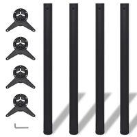 4 x Noge za Mizo Nastavljiva Višina Črne Barve 870 mm