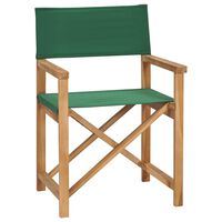 vidaXL Zložljiv režiserski stol trdna tikovina zelen