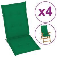 vidaXL Blazine za vrtne stole 4 kosi zelene 120x50x4 cm