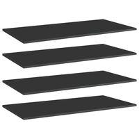 vidaXL Dodatne police za omaro 4 kosi visok sijaj črne 80x20x1,5 cm