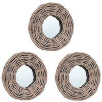 vidaXL Ogledala 3 kosi 15 cm s pletenim okvirjem