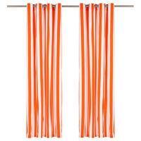 vidaXL Zavese s kovinskimi obročki 2 kosa blago 140x225cm oranžne črte