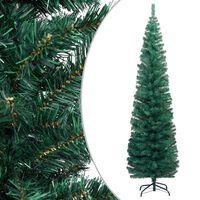 vidaXL Ozka umetna novoletna jelka s stojalom zelena 180 cm PVC