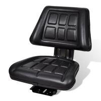 vidaXL Sedež za traktor s hrbtnim naslonjalom črne barve