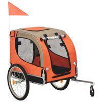vidaXL Kolesarska prikolica za psa oranžna in rjava