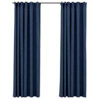 vidaXL Zatemnitvene zavese z obešali 2 kosa modre 140x225 cm