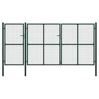 vidaXL Vrtna vrata jeklena 400x200 cm zelena