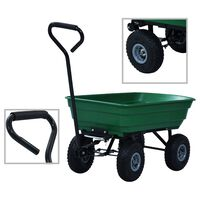 vidaXL Vrtni ročni voziček 300 kg 75 L zelen