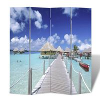 vidaXL Zložljiv paravan 160x170 cm plaža