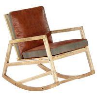 vidaXL Gugalni stol rjavo pravo usnje in trden mangov les