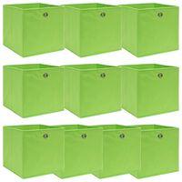 vidaXL Škatle za shranjevanje 10 kosov zelene 32x32x32 cm blago