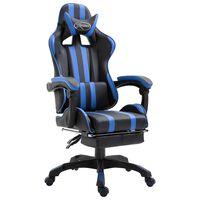 vidaXL Gaming stol z oporo za noge modro umetno usnje