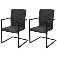 vidaXL Nihajni jedilni stoli 2 kosa črno umetno usnje