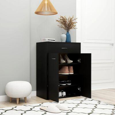vidaXL Omara za čevlje črna 60x35x84 cm iverna plošča