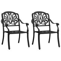 vidaXL Vrtni stoli 2 kosa liti aluminij črni
