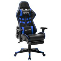 vidaXL Gaming stol z oporo za noge črno in modro umetno usnje
