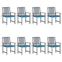 vidaXL Vrtni stoli z blazinami 8 kosov trden akacijev les sivi