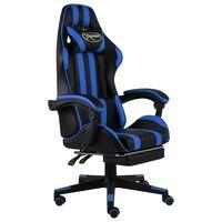 vidaXL Racing stol z oporo za noge črno in modro umetno usnje
