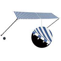 vidaXL Zložljiva tenda z LED lučmi 350x150 cm modra in bela