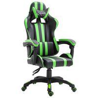 vidaXL Gaming stol zeleno umetno usnje