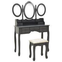 vidaXL Mizica za ličenje s stolčkom in tridelnim ogledalom siva