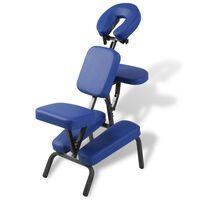vidaXL Zložljiv in prenosen masažni stol moder