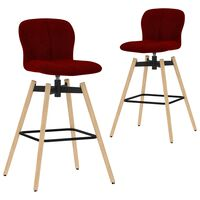 vidaXL Vrtljivi barski stoli 2 kosa vinsko rdeče blago