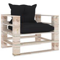 vidaXL Vrtni kavč iz palet s črnimi blazinami borovina
