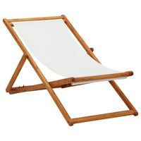 vidaXL Zložljiv stol za na plažo evkaliptusov les in kremno belo blago