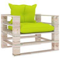 vidaXL Vrtni kavč iz palet s svetlo zelenimi blazinami borovina