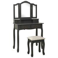 vidaXL Mizica za ličenje s stolčkom siva 80x69x141 cm les pavlovnije