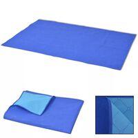 vidaXL Piknik odeja modra in svetlo modra 100x150 cm