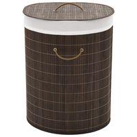 vidaXL Koš za perilo iz bambusa ovalen temno rjav