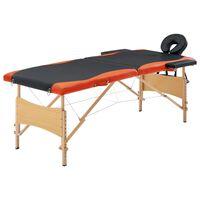 vidaXL Zložljiva masažna miza 2-conska les črna in oranžna