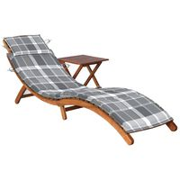 vidaXL Vrtni ležalnik z mizico in blazino trden akacijev les