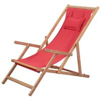 vidaXL Zložljiv stol za na plažo blago in lesen okvir rdeče barve